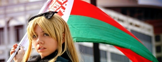 biélorussie femme drapeau