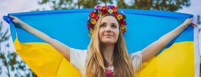 Ukraine femme drapeau